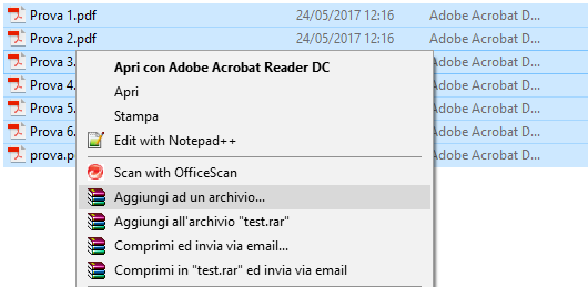 come usare winrar - Crea Archivio