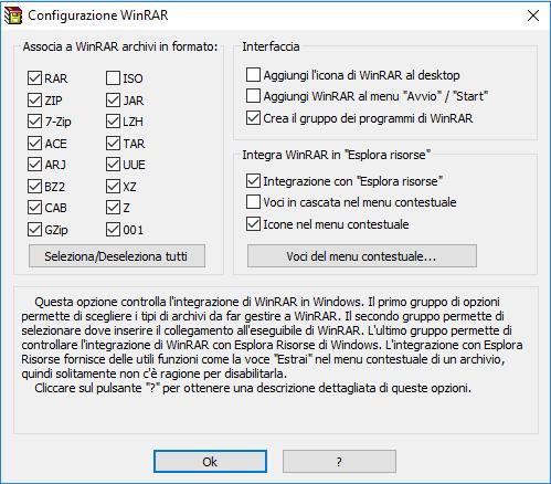 installare winrar - Parametri