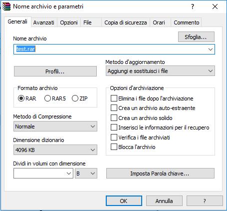 come usare winrar - Nome Archivio