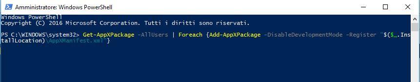 Menu Start di Windows 10 - Power Shell