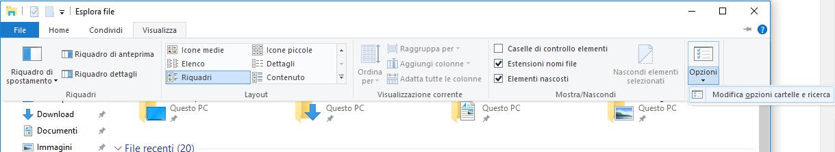 Cartelle nascoste - Esplora File