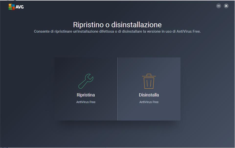 disinstallare AVG free - Rimozione AVG Free