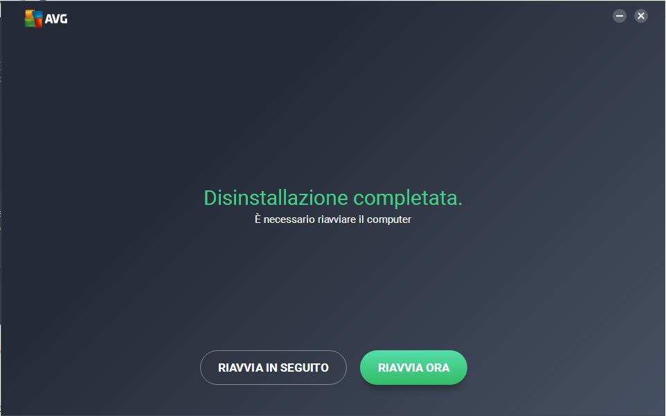 disinstallare AVG free - Riavvia Ora