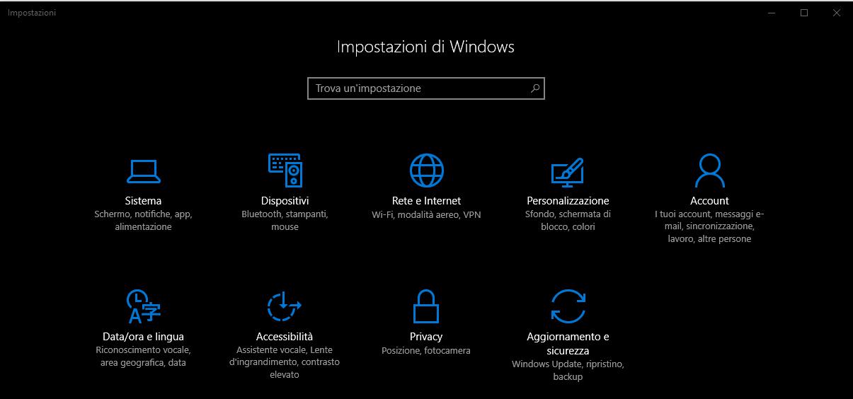 Disinstallare un programma - Impostazioni di Windows