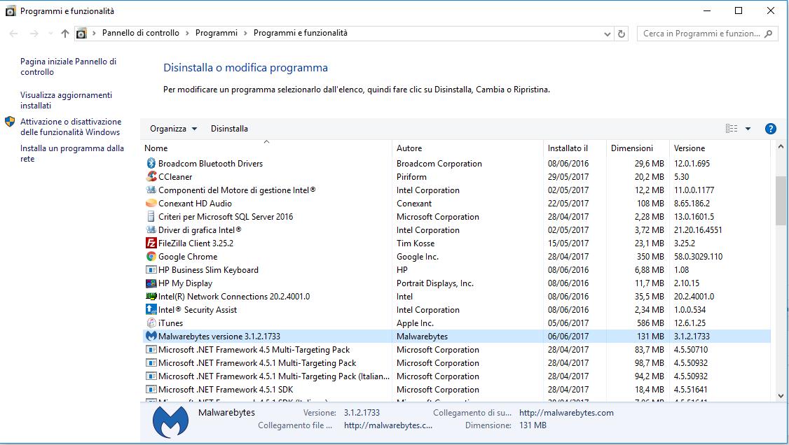 Disinstallare Malwarebytes - Programmi e Funzionalità