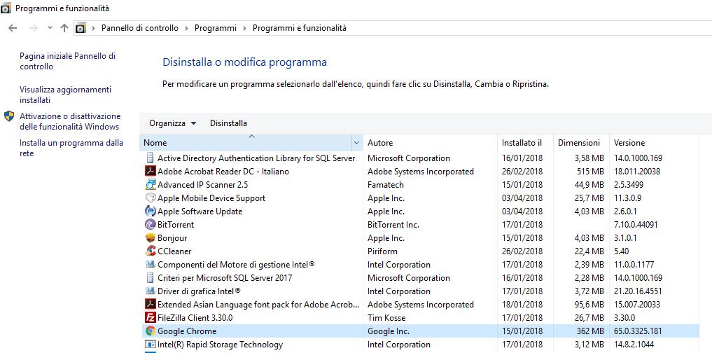 Disinstallare Google Chrome - Programmi e funzionalità