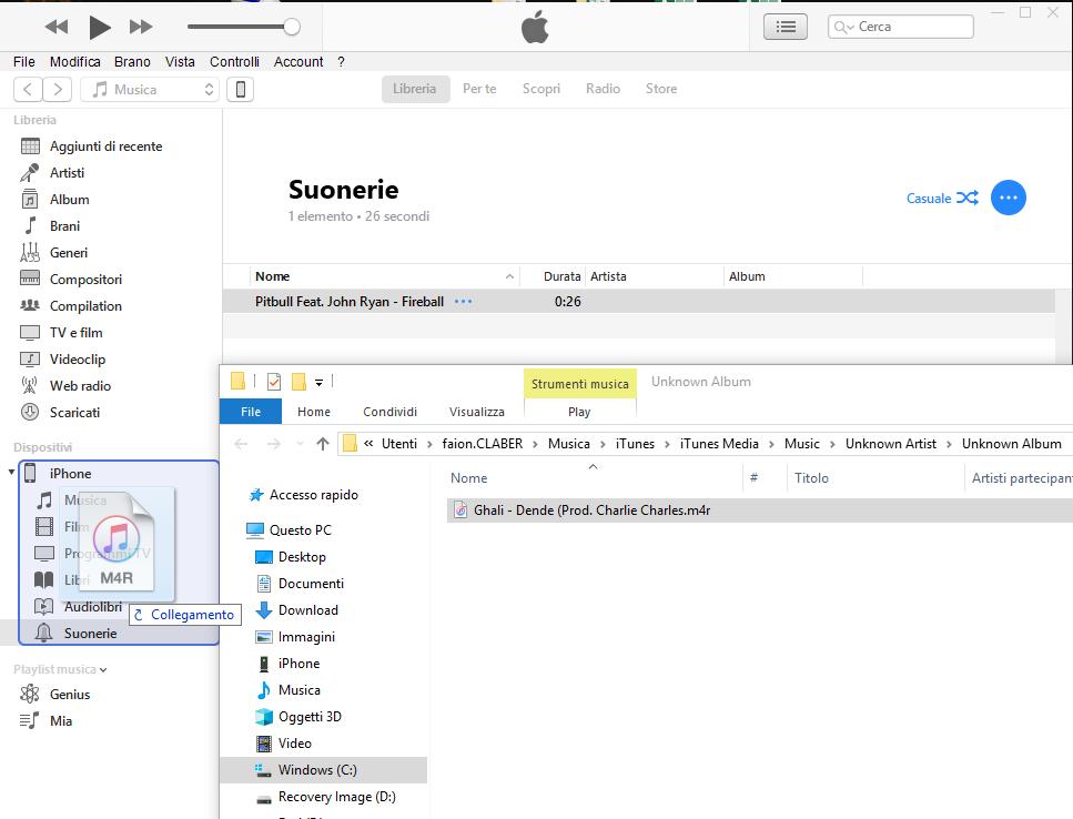 Creare una suoneria con iTunes - Importare Suoneria
