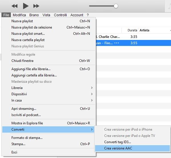 Creare una suoneria con iTunes - Converti in AAC