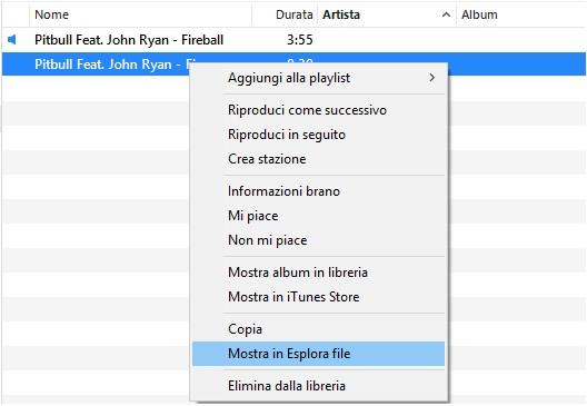 Creare una suoneria con iTunes - Mostra in Esplora File
