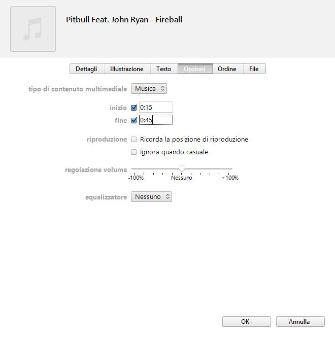 Creare una suoneria con iTunes - Opzioni Brano