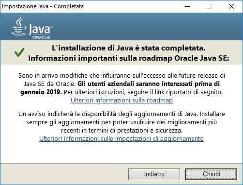 Come aggiornare Java - Chiudi