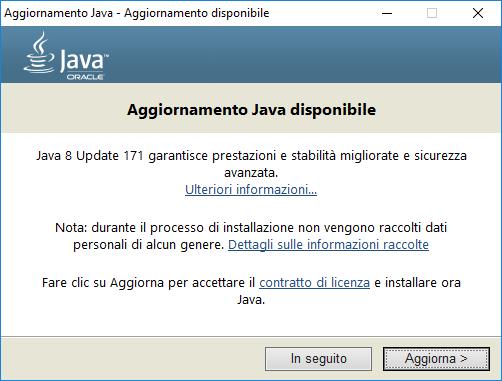 Come aggiornare Java - Aggiorna