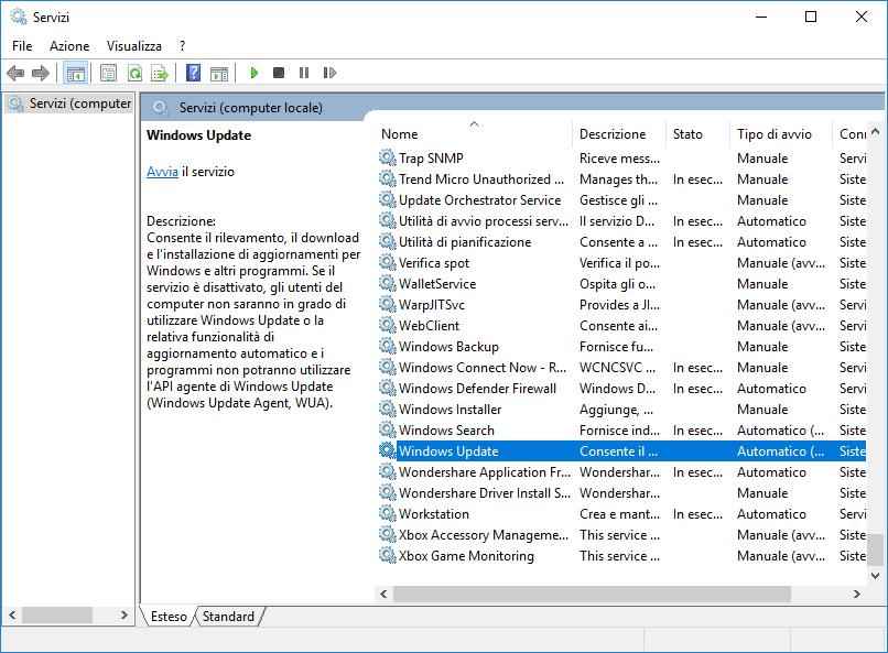 Rimuovere i parametri del Wsus - Windows Update Stop