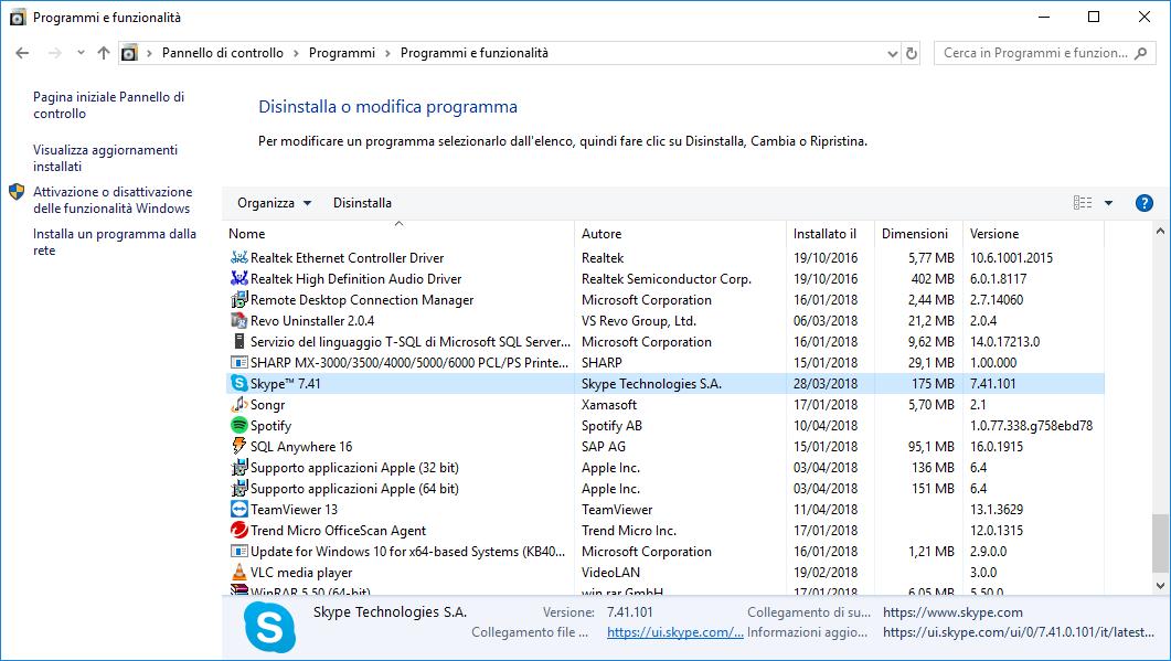 Come disinstallare Skype - Programmi e funzionalità