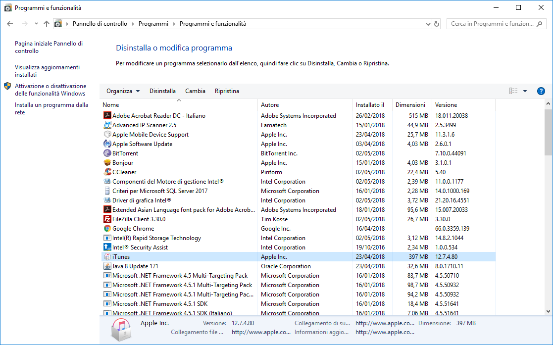 Disinstallare iTunes - Programmi e Funzionalità