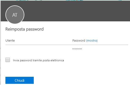 Cambiare la password di Office 365 - Chiudi