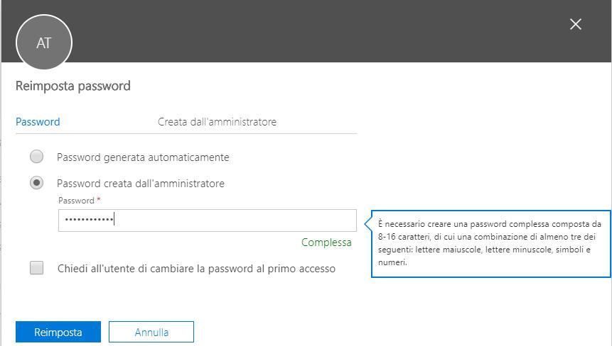 Cambiare la password di Office 365 - Reimposta Password