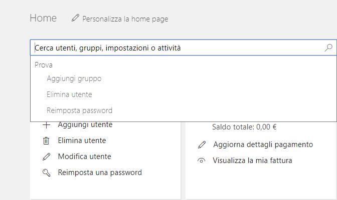Cambiare la password di Office 365 - Ricerca Utente