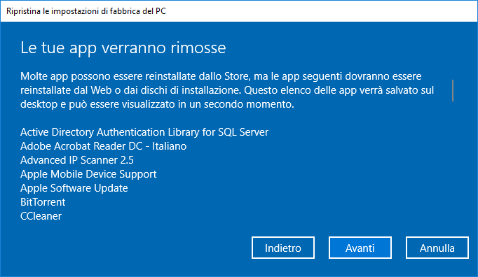 Ripristino di Windows 10 - App Rimosse