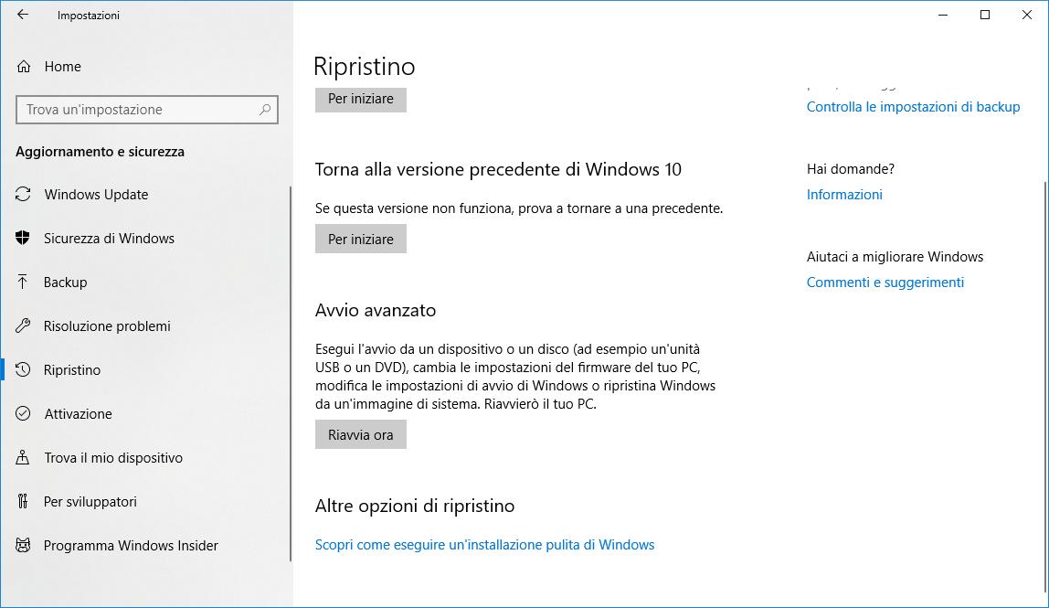 Ripristino di Windows 10 - Avvio Avanzato
