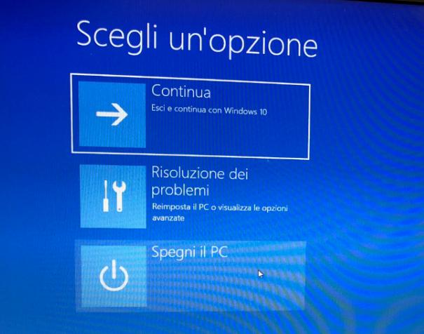 Ripristino di Windows 10 - Risoluzione dei problemi