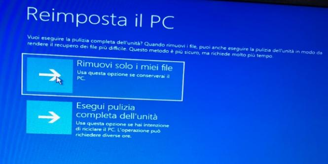 Ripristino di Windows 10 - Pulizia Completa Unità