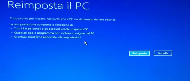 Ripristino di Windows 10 - Reimposta Pulsante