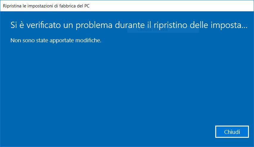 Ripristino di Windows 10 - Errore
