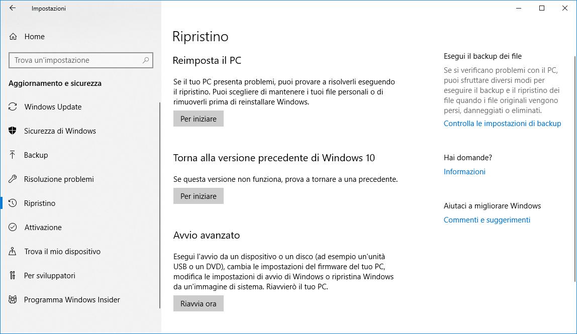 Ripristino di Windows 10 - Menu Ripristino