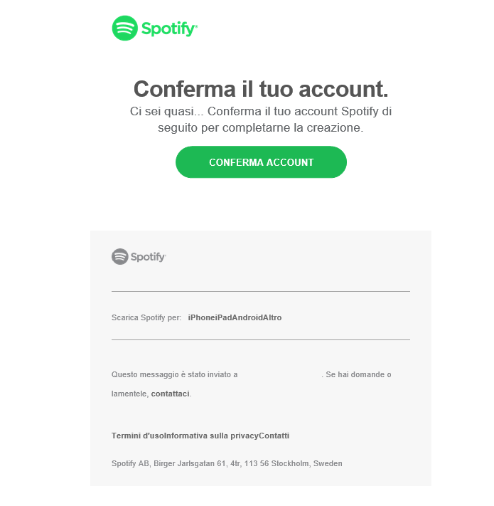 Creare un account Spotify - Conferma Account