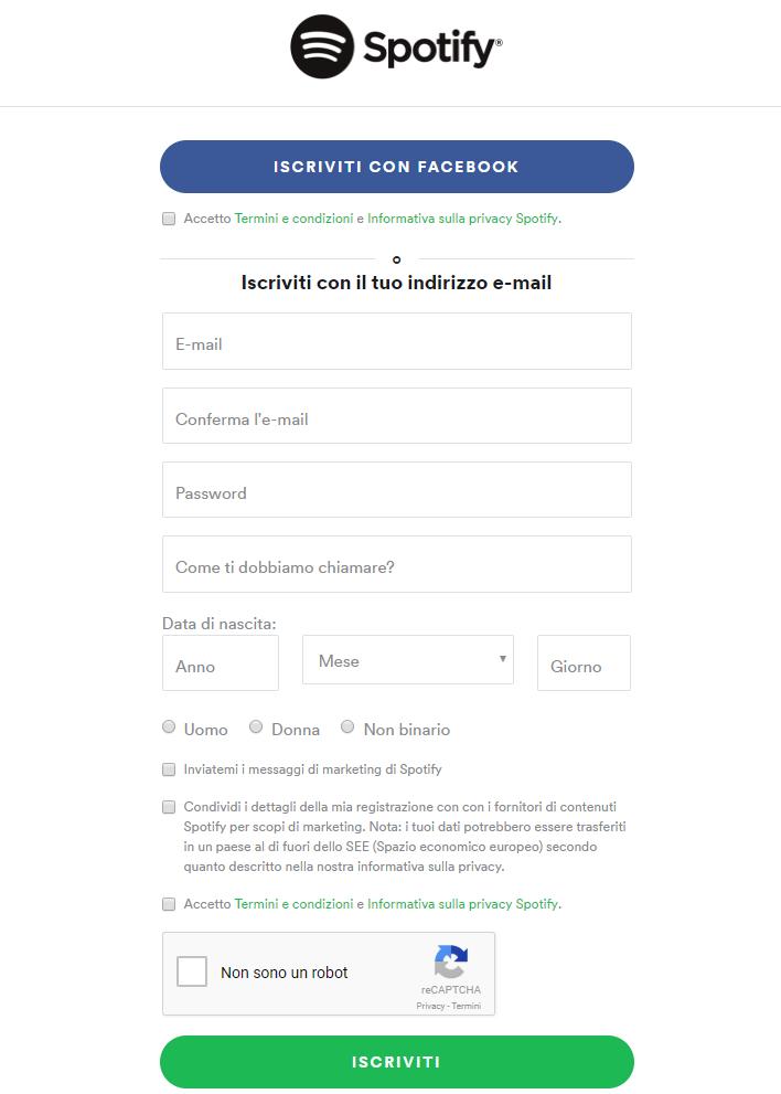 Creare un account Spotify - Registrazione