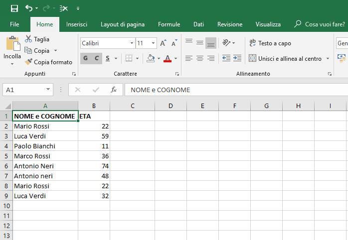 Ricercare Duplicati In Excel - Foglio di lavoro