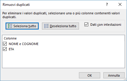 Rimuovere Duplicati in Excel - Rimuovi duplicati