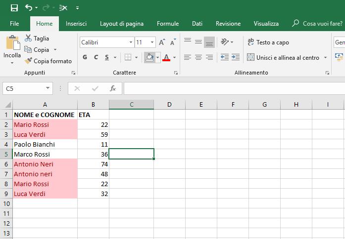 Ricercare Duplicati In Excel - Foglio con valori evidenziati