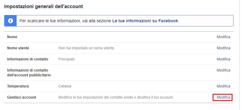 Cancellare un profilo Facebook - Impostazioni Generali
