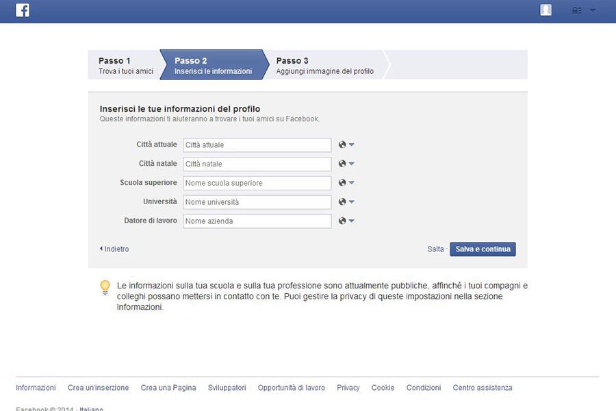 Creare un profilo Facebook - Passo 2