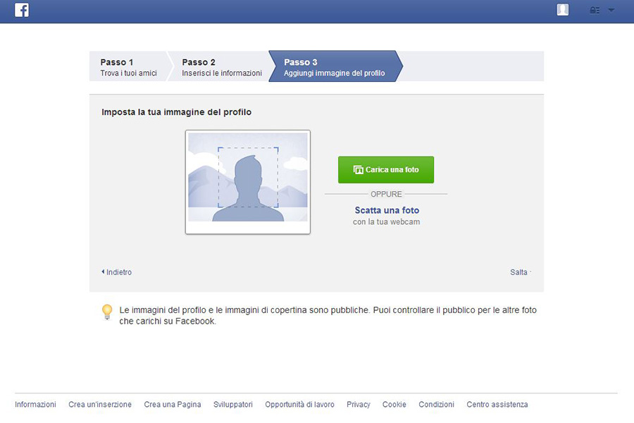 Creare un profilo Facebook - Passo 3