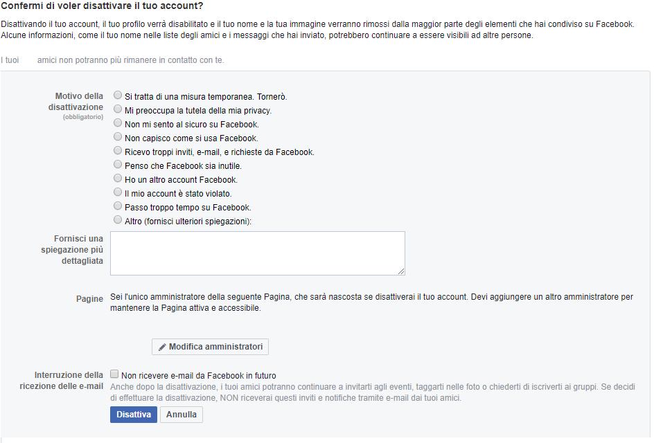 Cancellare un profilo Facebook - Conferma