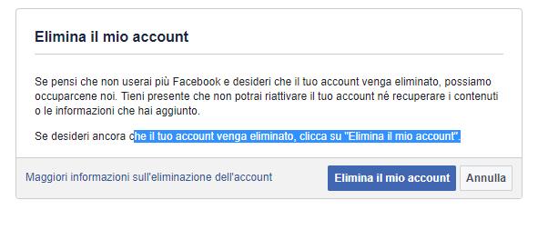 Cancellare un profilo Facebook - Elimina il mio account