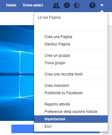 Backup del profilo di Facebook - Impostazioni
