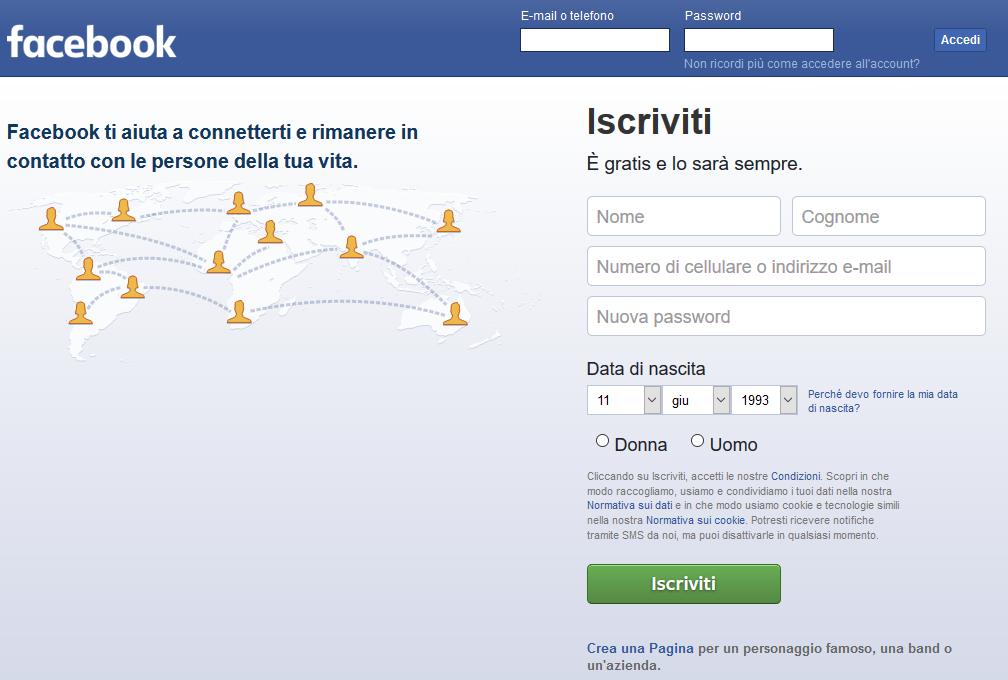 Creare un profilo Facebook - Iscriviti