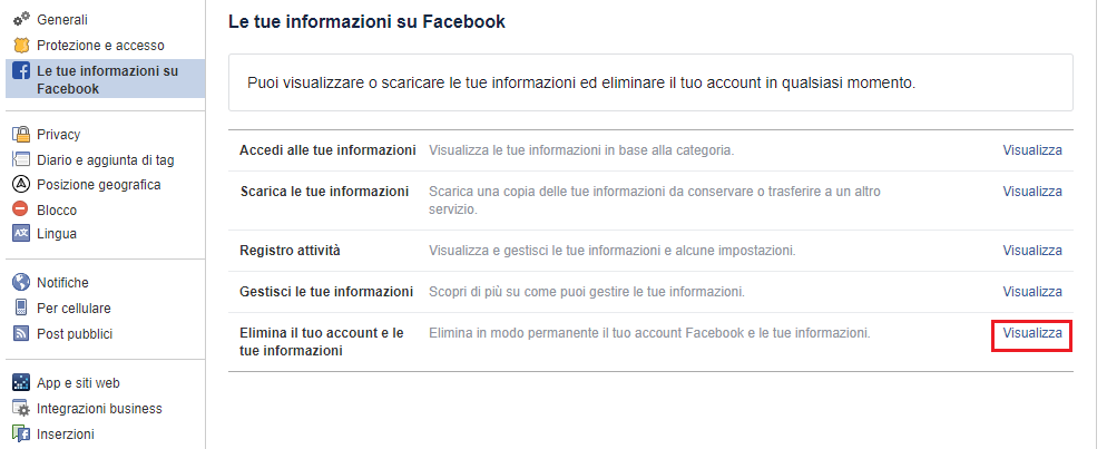 Cancellare un profilo Facebook - Le Tue Informazioni