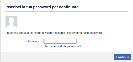 Cancellare un profilo Facebook - Inserisci la Password