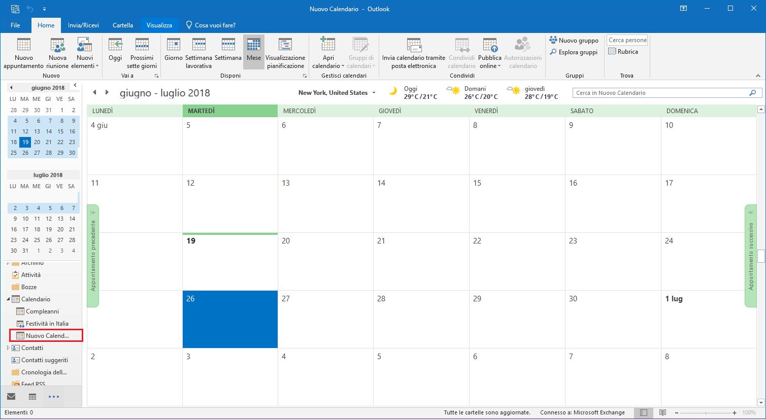 Nuovo Calendario - Calendario Creato
