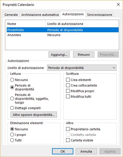 Autorizzazioni su un Calendario condiviso - Autorizzazioni