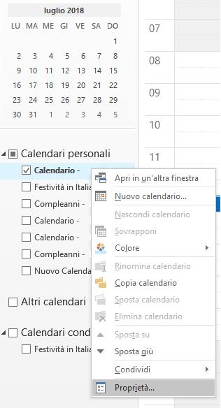 Autorizzazioni su un Calendario condiviso - Proprietà