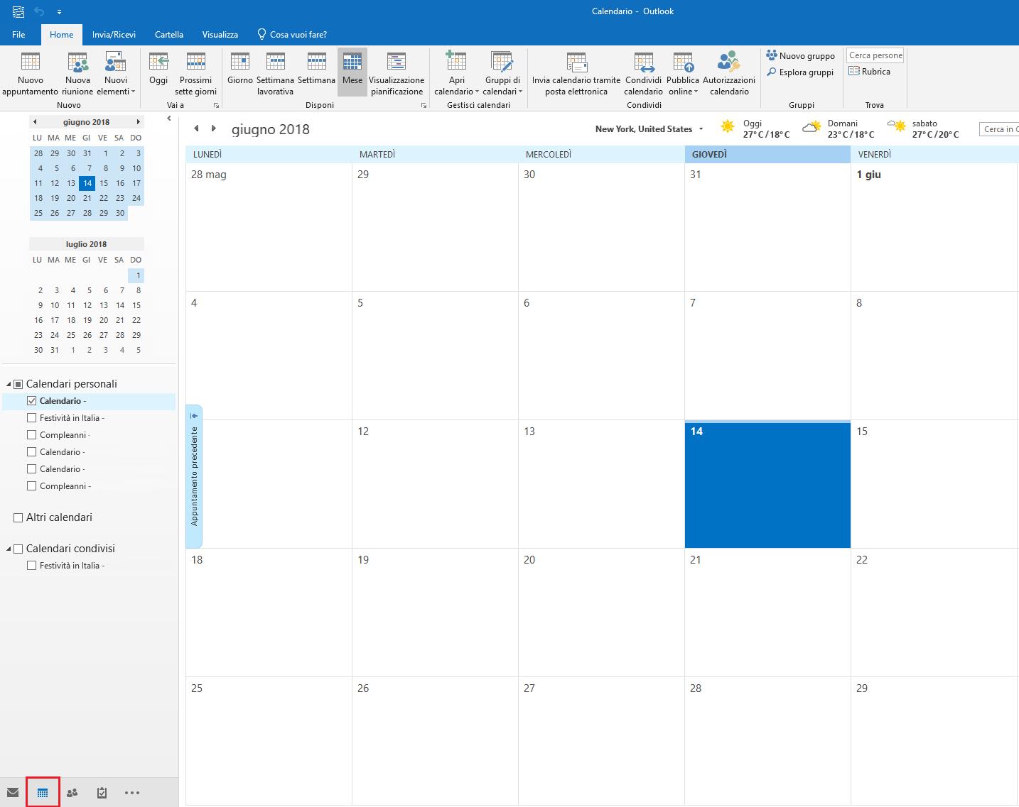 Autorizzazioni su un Calendario condiviso - Elenco Calendari