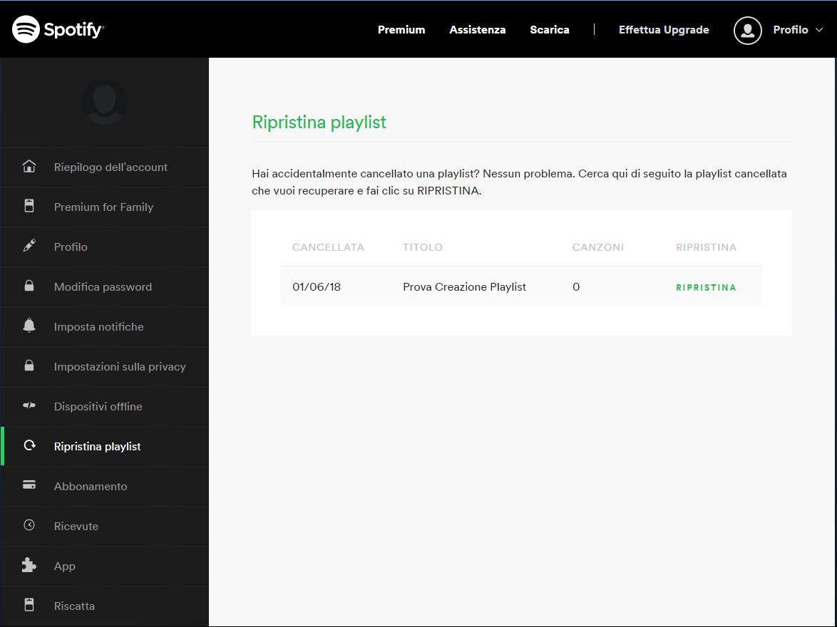 Recuperare una playlist di Spotify - Ripristina