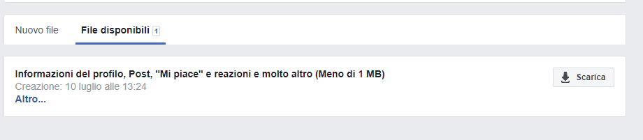 Backup del profilo di Facebook - File Disponibili