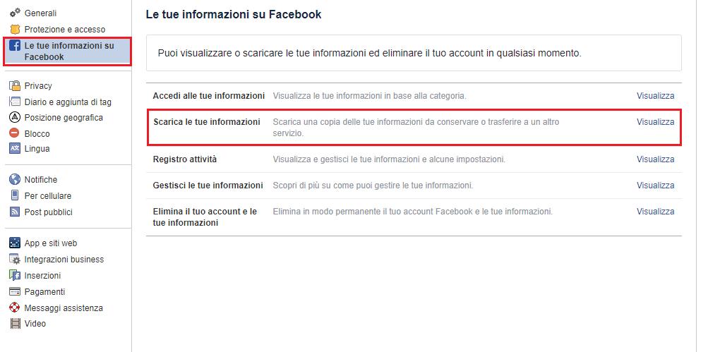 Backup del profilo di Facebook - Le tue Informazioni